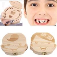 Kids Tooth Box Organizer Baby Save Milk Teeth Wood Storage F Boy Girl First Gift