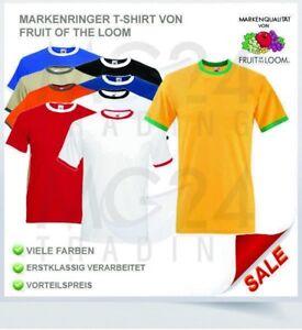 Fruit of the Loom Ringer T Shirt mit farbigem Kragen in allen Größen und Farben