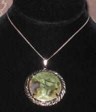 Vintage Prong Set Moss Agate Cabochan Silver Tone Pendant w/ Chain Necklace