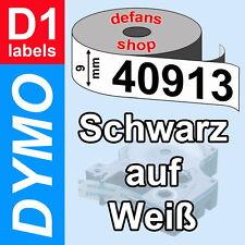 DYMO D1 Schriftbandkassette 40913 schwarz auf weiß 9mm white S0720680 ORIGINAL
