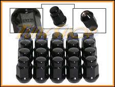20 BULGE ACORN WHEELS RIMS LUG NUTS 12X1.25 M12 1.25 CLOSED END BLACK 19 HEX N