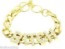 Hip Hop Urban Fashion Crystal Bling Gold BITCH pendant & chain Bracelet