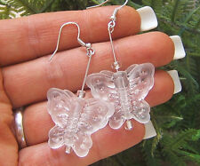 BUTTERFLY CRYSTAL FROST MATTER CARVED CLEAR QUARTZ GEM SILVER GOLD BIG EARRINGS
