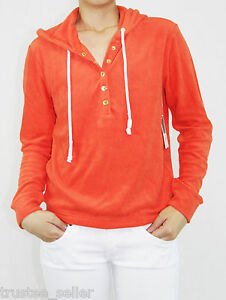 NWT Juicy Couture Womens Malibu Coral Gloss Pullover Hoodie Sweatshirt Sweater