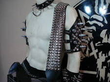 OLD SCHOOL STUDDED LEATHER GUITAR STRAP BUCKLE UP ...(MDLS0293) ....IHSAHN.....