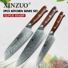 Knife Set Damascus Steel 73 Layers Chef Cleaver Santoku Utility Kitchen Knives X