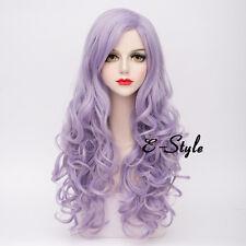80CM Long Curly Gary Purple Lolita Harajuku Daily Women Girl Cosplay Party Wig
