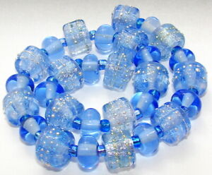 "Sistersbeads ""J-Blue Sky"" Handmade Lampwork Beads"