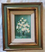Egg Shell Floral Daisy Still Life Oil Painting Listed Artist Ann A. Hupke 13x11