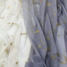 Tulle Embroidery Mesh Star Fabric Sheer DIY Tutu Skirt Wedding Dress Cloth