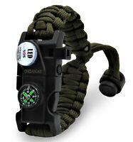 Paracord Survival Bracelet Adjustable Fire Starter Compass Whistle SOS LED Light