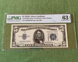 1934D $5 Silver Certificate TA Block Certified PMG Choice Uncirculated 63EPQ C2C