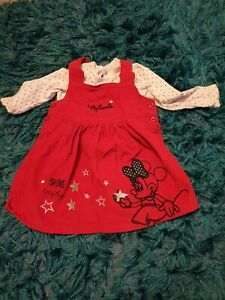 Baby girl minnie mouse 12-18 Months Pinafore Dress Red