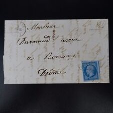 NAPOLÉON N°14Ae BLEU / LILAS + 2 VOISINS LETTRE COVER PC 1456 GRIGNAN -> ROMANS