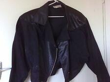 FASHION FAIR Vintage black biker Leather Look Zip Jacket Batwing Sleeves  Sz 12