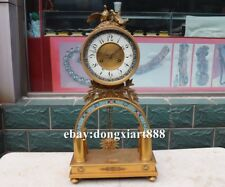 European Retro Bronze cloisonne Bird Mechanical clockwork Table Clock Timepiece