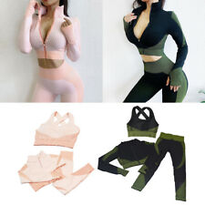 Womens Seamless 3pcs Yoga Suit Crop Top Butt Lift Leggings Pants Gym Sports Bra