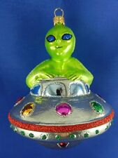 UFO Alien Flying Saucer Glass Christmas Tree Ornament Travel Poland 011293