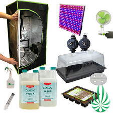 Hydroponic Full Sepctrum LED 0.5x0.5x1M Grow Tent Vent Fan CANNA Plant COCO tray