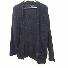 New American Eagle Womens Mixed Knit Black Spotted Wrap Cardigan Sweater Sz XS