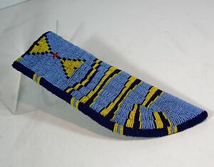 """1910s NATIVE AMERICAN SIOUX INDIAN BEAD DECORATED KNIFE SHEATH - LARGE SIZE 10"""""""