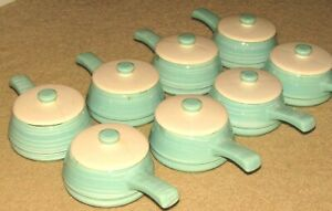 8 VINTAGE NELSON MCCOY ESMOND TURQUOISE STRIPE #216 BOWLS WITH HANDLES