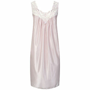 """Sleeveless Satin Look Lacy Nightdress. Mink Or Mulberry. Sizes 10-24. 40"""" or 50"""""""