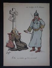 """JEAN GEOFFROY   (1853/1924)  - """" LE MARTYR DE LA BELGIQUE 1915 """"  - Signé"""