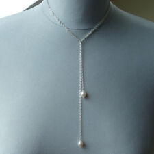 ● FLEXIBEL ● lange Perlen Schal Kette weiß Sterling Silber 935 + Anlaufresistenz