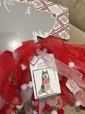 BNWT Winter Dreams Dogs Candy Cane Tulle Neckpiece Size XL//XXL