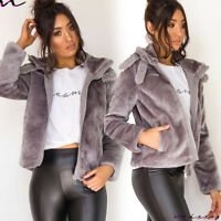 NEW UK Womens AVIATOR Teddy Bear Coat Ladies Faux Fur Borg Zip Jacket Size 8 - 1