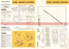 FORD Escort Clipper - 1992 : Fiche Technique Auto Carrosserie / Peinture