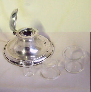 CHOICE OF REPLACEMENT SMALL GLASS INK LINER INSERTS - Liners for Silver Inkwells