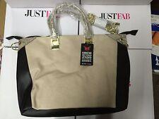 JustFab Levi Handbag Large Beige Faux Leather Tote