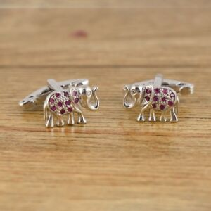 925 Sterling Silver Natural Round Cut Ruby Gemstone Elephant Cufflinks For Men's