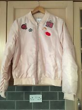 Ladies Nude Metallic Badge Bomber Jacket Size M BNWT RRP £29.99