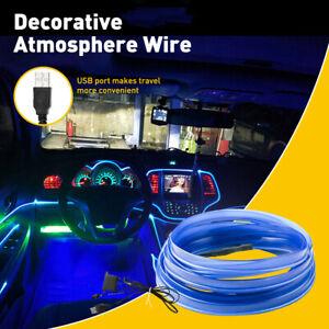 16FT USB LED Auto Car Interior Decor Atmosphere Light Strip Accessories Blue 12V