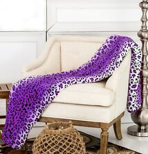 Soft Warm Throw Purple Leopard Printed Flannel Fleece Blanket Bedding King Size
