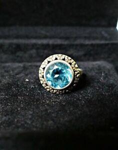 Ring Aquamarin blau rund wunderschön 850er Silber Markasit Art Deco-Stil 55/17,5
