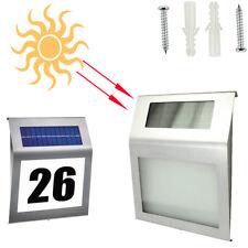 LED Solar Hausnummer Beleuchtung Hausnummernleuchte IP65 Beleuchtet Edelstahl DE