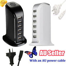 30W 6A 6 Port Desktop USB Rapid Charger Station Wall HUB Charging Power Cable DD