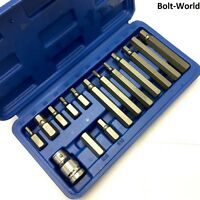 15Pc HEX BIT SET ALLEN WRENCH KEY SOCKET SET 1/2 DRIVE ADAPTOR IN CASE 75mm 30mm