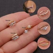 Floral Diamond Nose Ring Daith Piercing Cartilage Ear Hoop Septum Rings Tragus