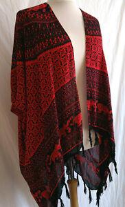 Summer Sun Beach Sarong Jacket Cover Up Boho Chic Hippy Black Red Kaftan Kimono