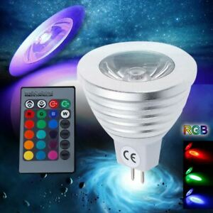 nw 16 Color Changing MR16 3W RGB LED Light Bulb Lamp AC/DC 12V +IR Remote Cont