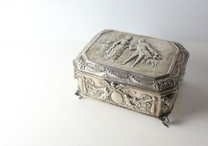 German 800 Silver Austria Hungary 835 Import mark Silver footed Casket Box