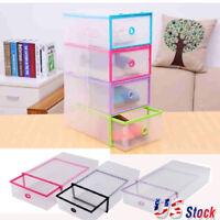 1-20Pcs Plastic Clear Shoe Box Stackable Storage Case Organizer Home Space Saver
