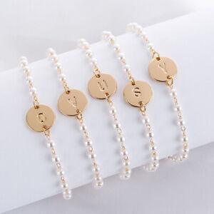 Gold Women Alphabet Letter Initial Friendship Bridesmaid Pearl Chain Bracelet UK