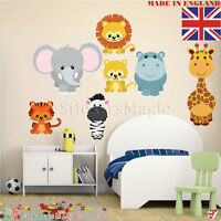Kids Room Wall Stickers Jungle Animals Childrens Nursery Safari Zoo Wild Large