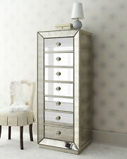 Mirrored Tallboy Chest of Drawers Storage Dresser Mirror Furniture Bedside Table